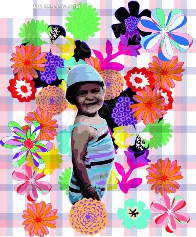 卡通人物插画-开心的小女孩和花朵