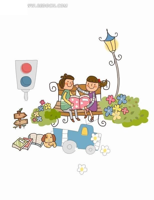 路灯下长椅上看书的女孩插画cdr免费下载_卡通形象
