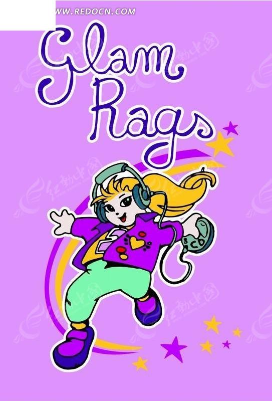 卡通人物插画-听音乐跳街舞的小女孩