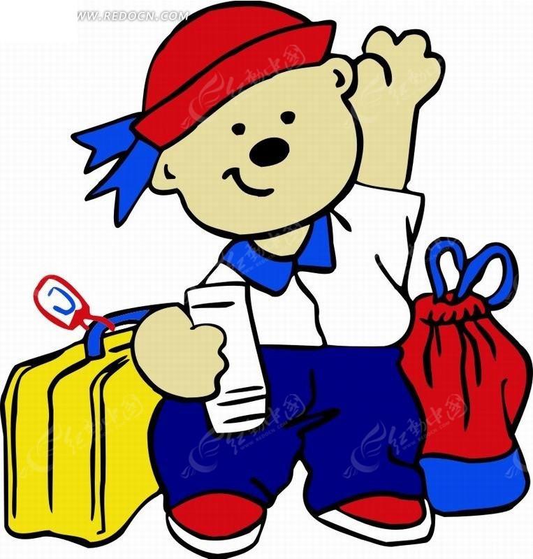 卡通人物插画-招手的小男孩和箱子