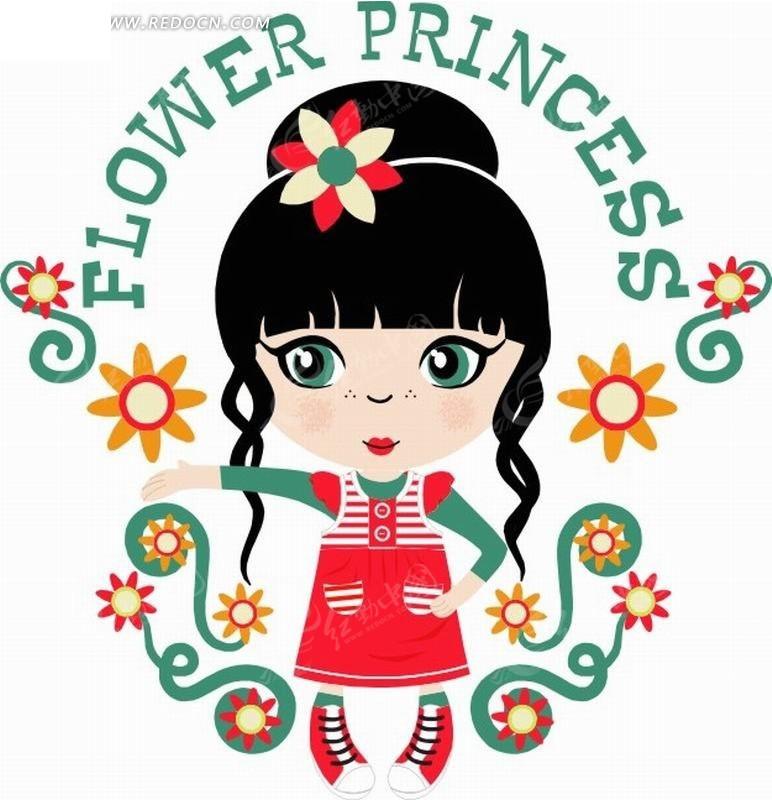 矢量卡通插画-头上戴花朵小女孩和花纹
