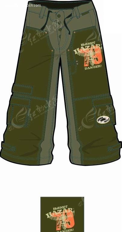 绿色的肥大长裤图片