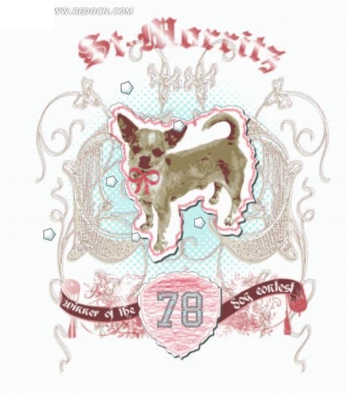 矢量印花图案-小狗和欧式花纹飘带