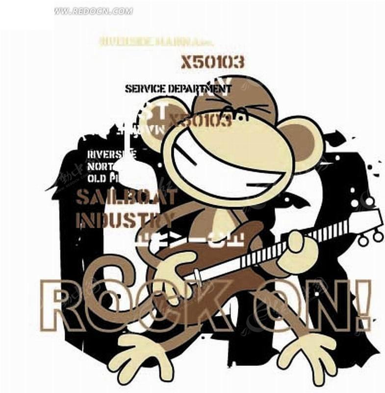 卡通猴子矢量图图片大全下载; 弹吉他的漫画男生;