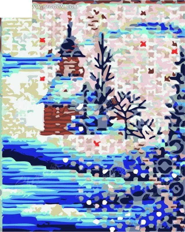 矢量印花图案-象素城堡树小鱼矢量图