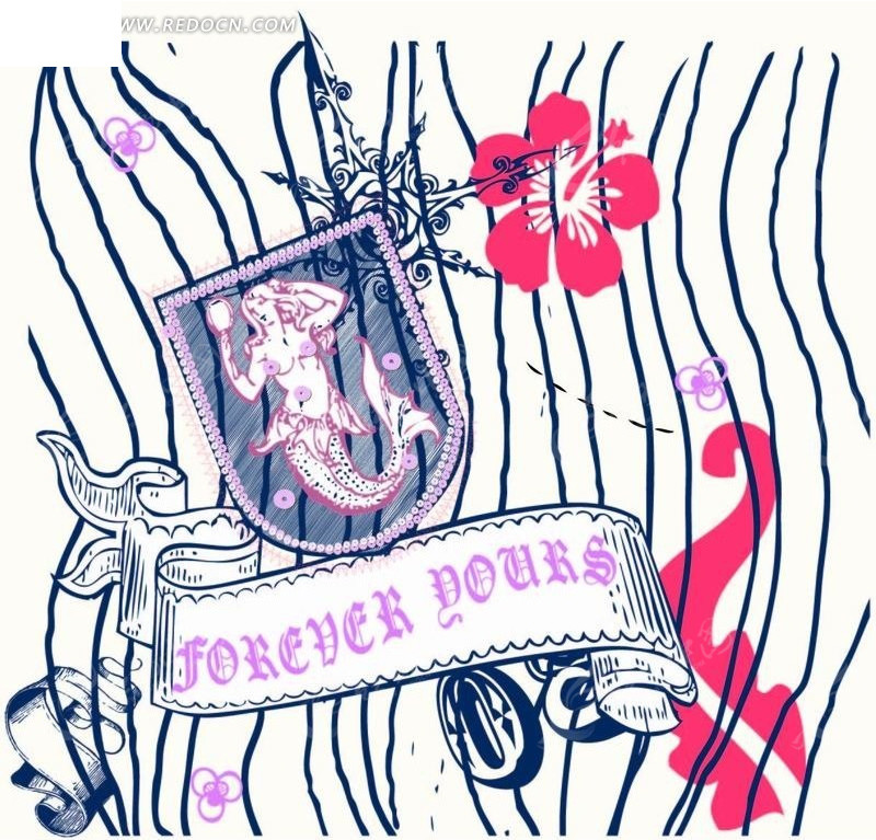 水草丝带花朵和美人鱼徽标矢量图 卡通形象 -水草丝带花朵和美人鱼徽