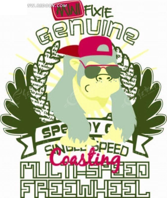 戴墨镜 翅膀 猩猩 帽子 徽标  卡通人物 卡通人物图片 漫画人物 人物