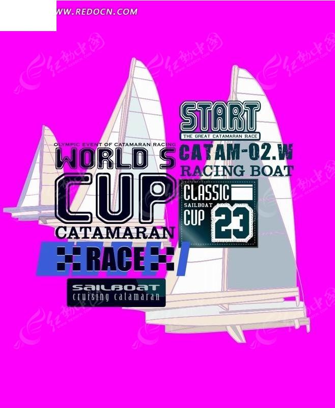 粉色背景上的手绘帆船和英文