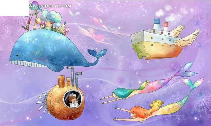 海洋中的鲸鱼和轮船卡通水彩画