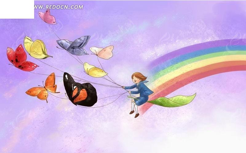 坐着树叶放蝴蝶风筝的小孩卡通水彩画