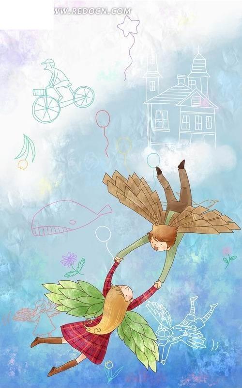 空中手拉手飞翔的男孩女孩卡通插画