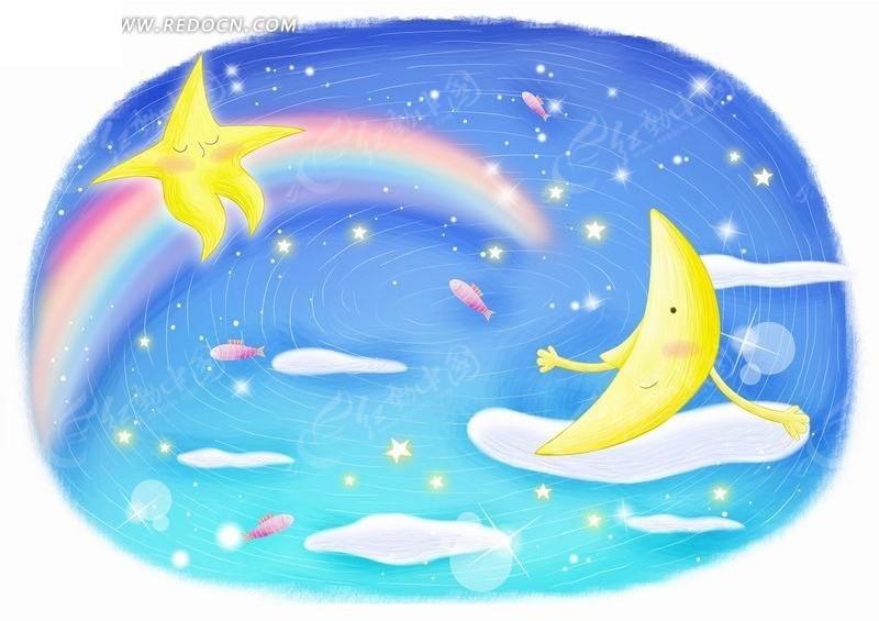 坐在云朵上的月亮和彩虹上的星星图片