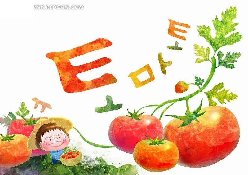 插画—西红柿和戴帽子的男孩psd素材