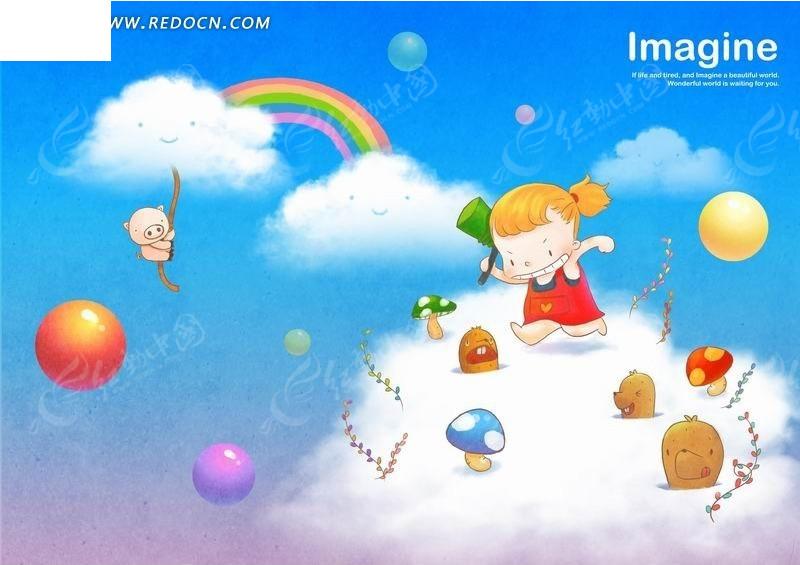 卡通画—云朵上敲蘑菇的女孩和绳子上的猪psd素材
