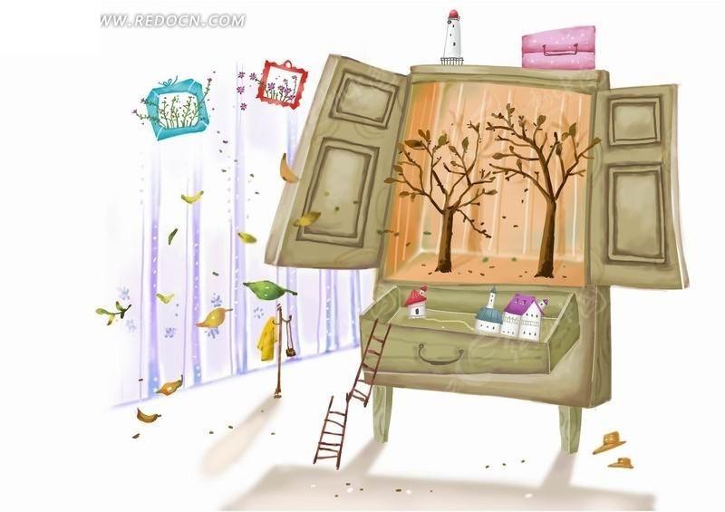 插画—树木前柜子里的树木和抽屉里的房屋psd素材