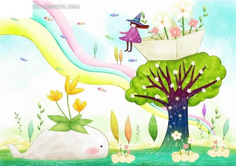 插画—水面上的鲸鱼和树木上的纸船和女孩psd素材图片