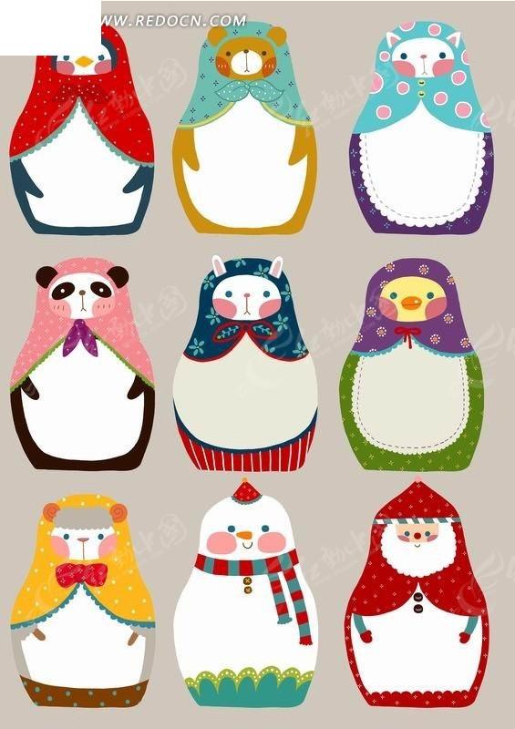 围着彩色头巾的小动物玩偶