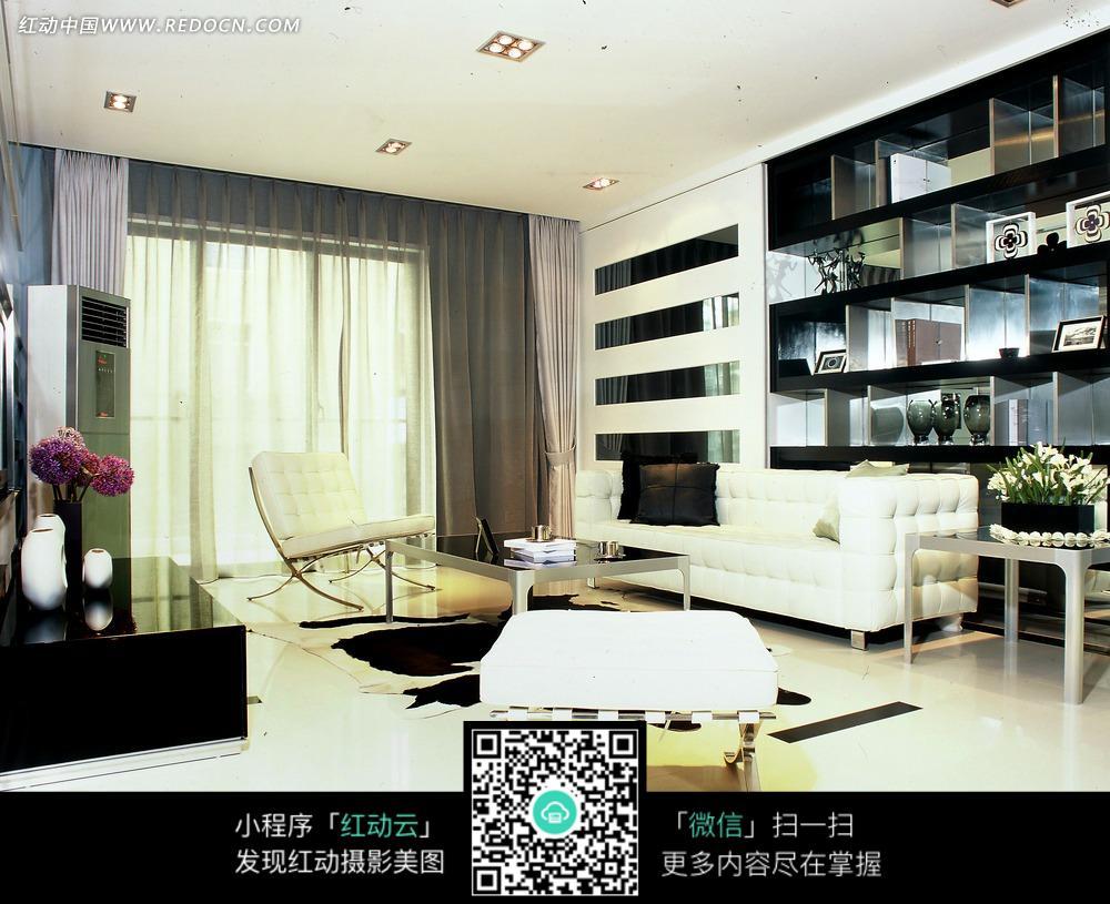 白色沙发 家具      茶几 书架 室内设计 家装设计 装饰效果图 装饰设