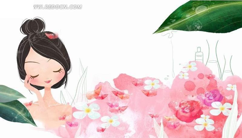 插画―洗花瓣浴的美女psd素材