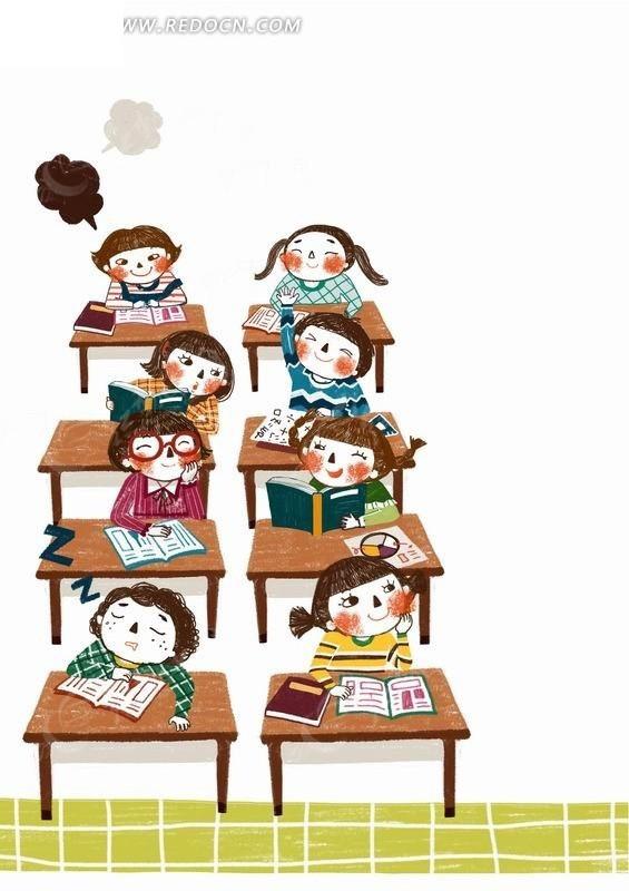 教师上课的小学生们卡通插画PSD素材免费下载 编号2009063 红动网