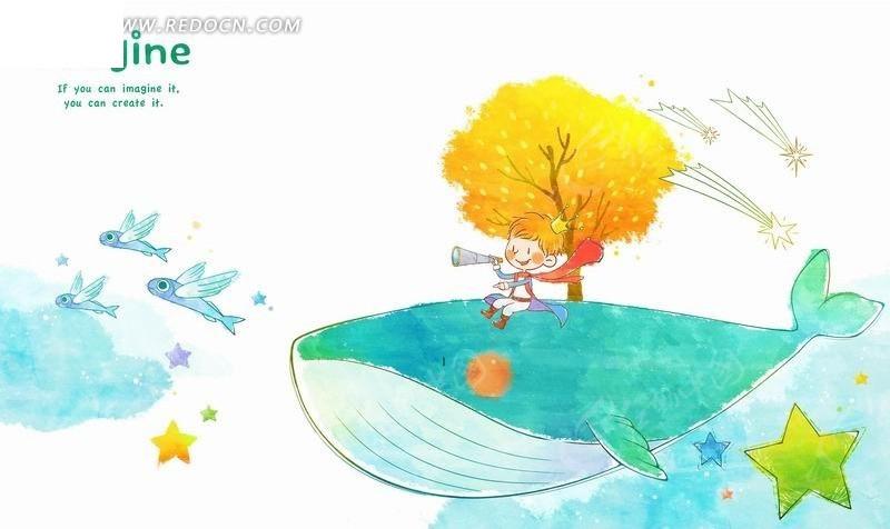 插画—鲸鱼背上的树木和拿着望远镜的王子psd素材图片