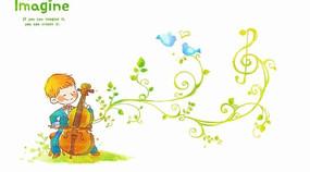 插画—拉小提琴的男孩psd素材