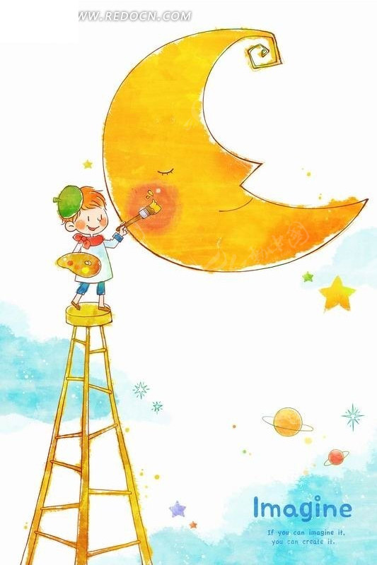 插画—站在梯子上画月亮的男孩psd素材