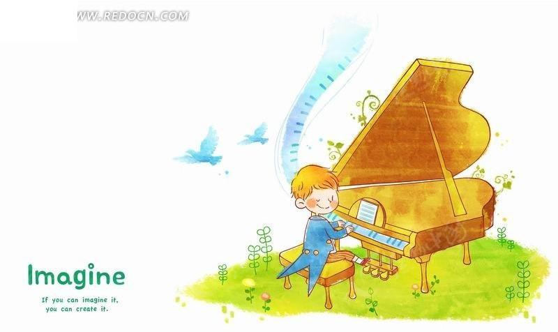 免费素材 psd素材 psd分层素材 卡通人物 插画—弹钢琴的男孩psd素材