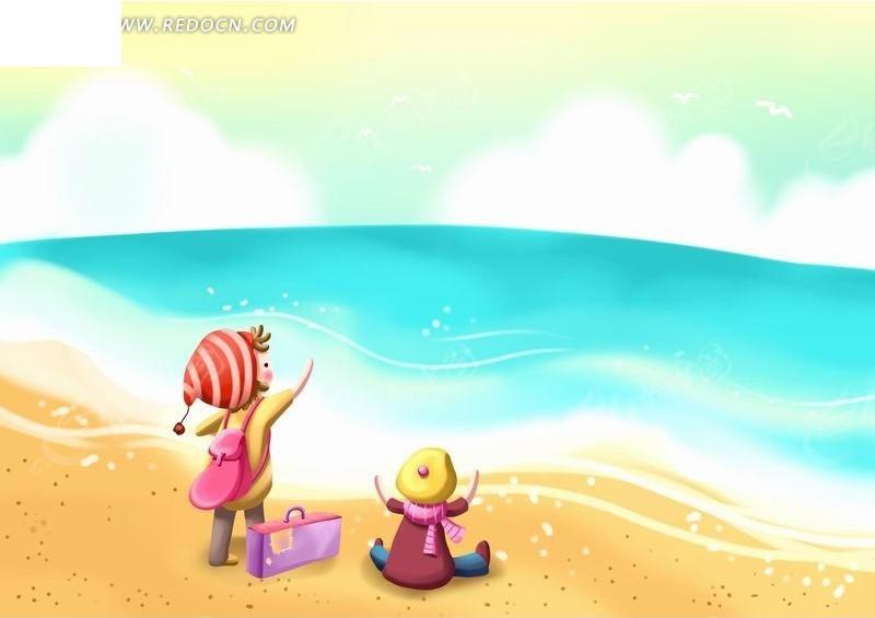 大海  两个小孩 背包