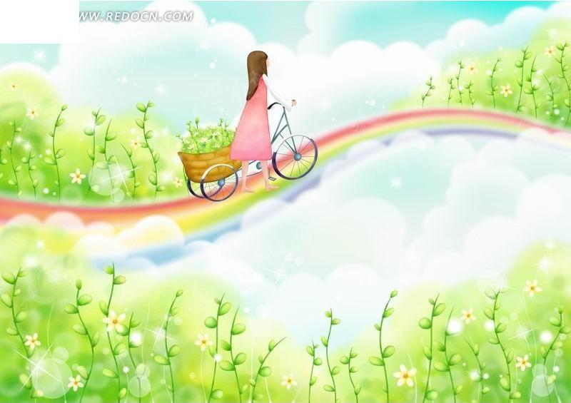 彩虹道路上骑自行车的女孩卡通插画编号:200