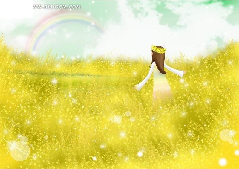 有个关于十二宫的黄色小�_黄色花丛中带花环的小女孩卡通插画