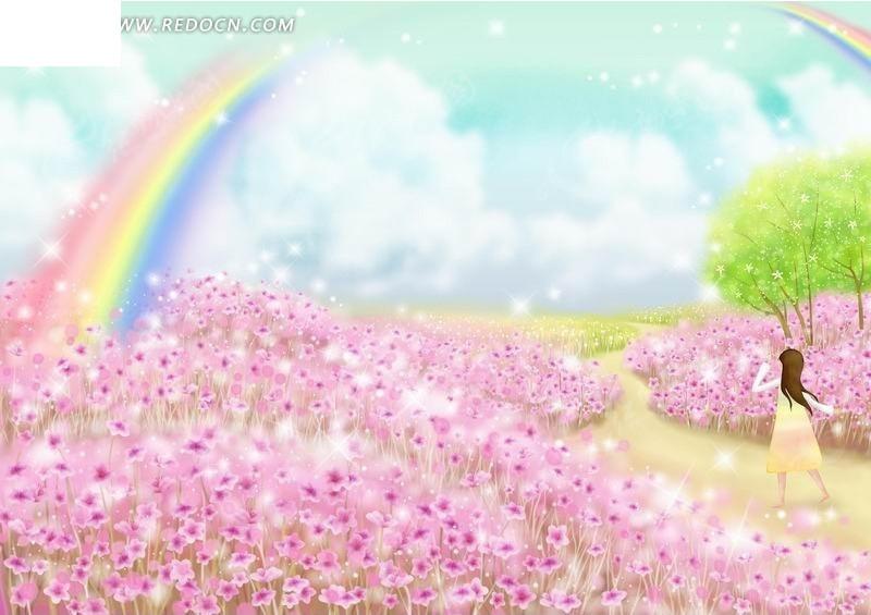 粉花丛中走向彩虹的女孩卡通插画