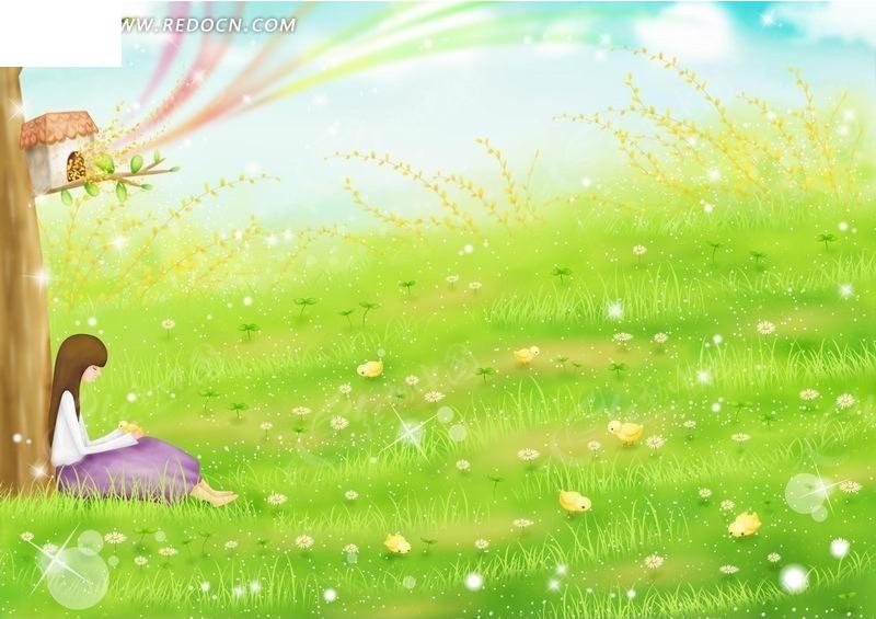 坐在树下草地上的女孩卡通插画