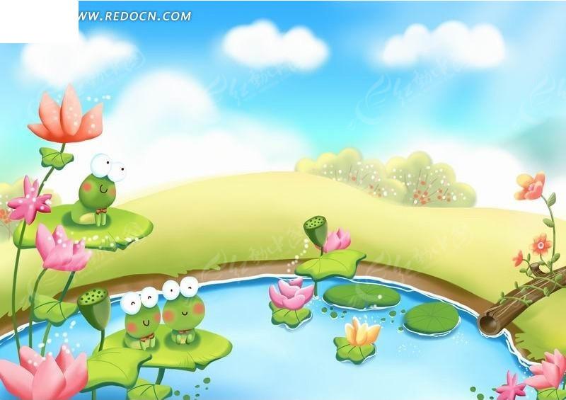 池塘荷叶上的青蛙卡通动物插画