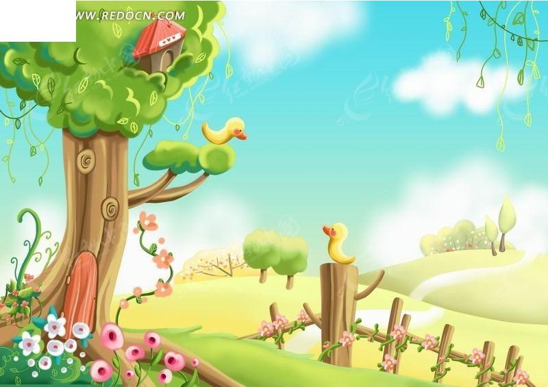 树枝和木桩上的黄色小鸭子卡通动物插画_风景