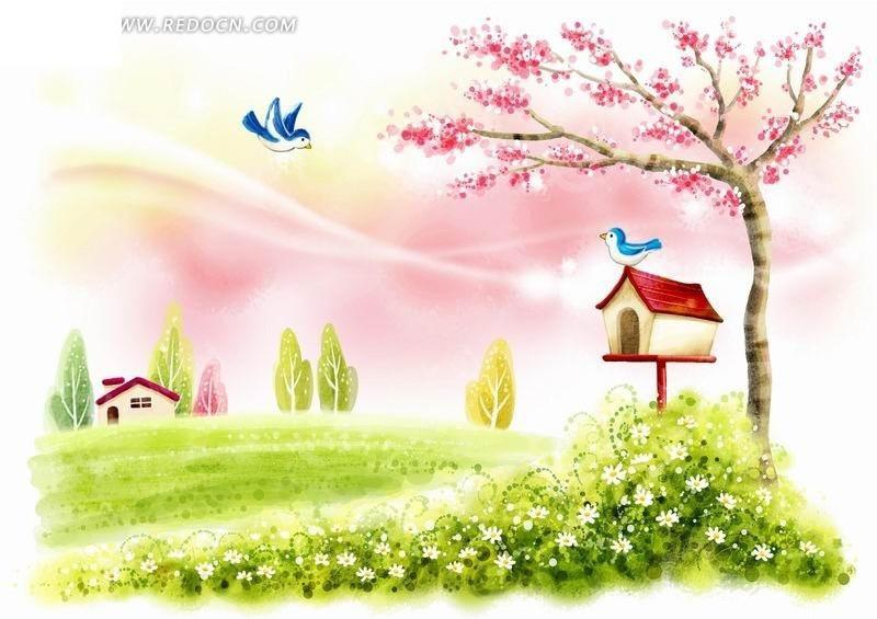 鸟巢上和飞翔的小鸟卡通风景插画