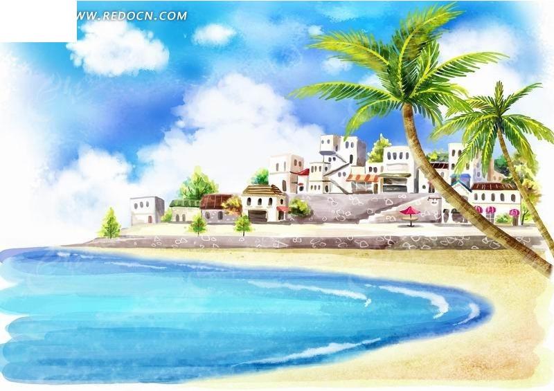 海边的城市建筑和椰子树卡通插画