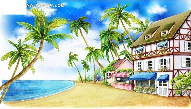 海边的别墅和椰子树卡通风景插画