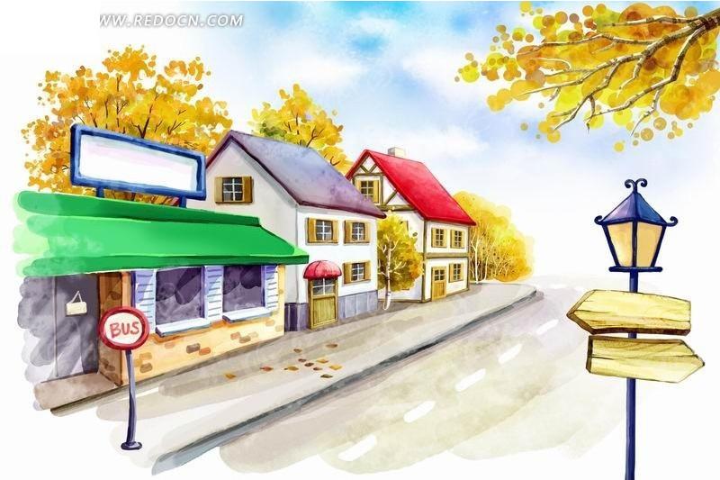 路边 房子 路灯 指示牌 风景 卡通 插画 手绘  风景图片 psd分层素材