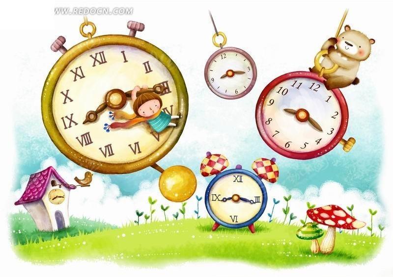 钟表上的小孩和小熊卡通插画