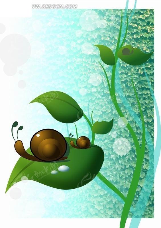 绿叶 两只 蜗牛