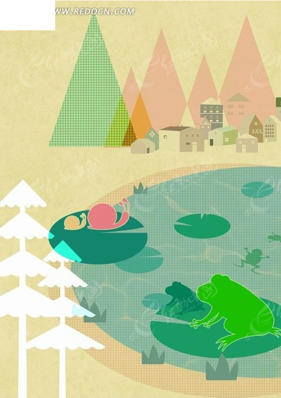荷叶上的蜗牛和青蛙卡通动物插画
