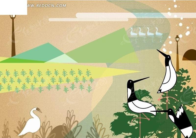 丹顶鹤的简笔卡通画
