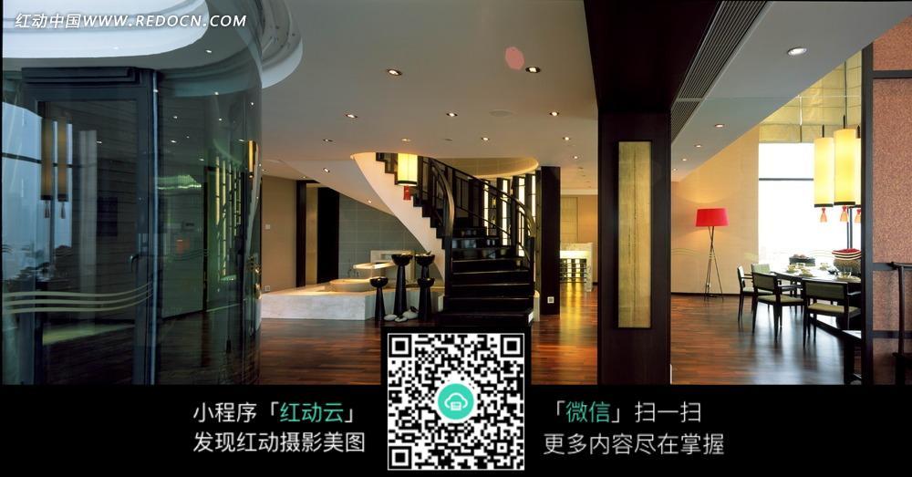 黑色楼梯 木地板 大厅 室内设计 家装设计 装饰效果图 装饰设计 摄影