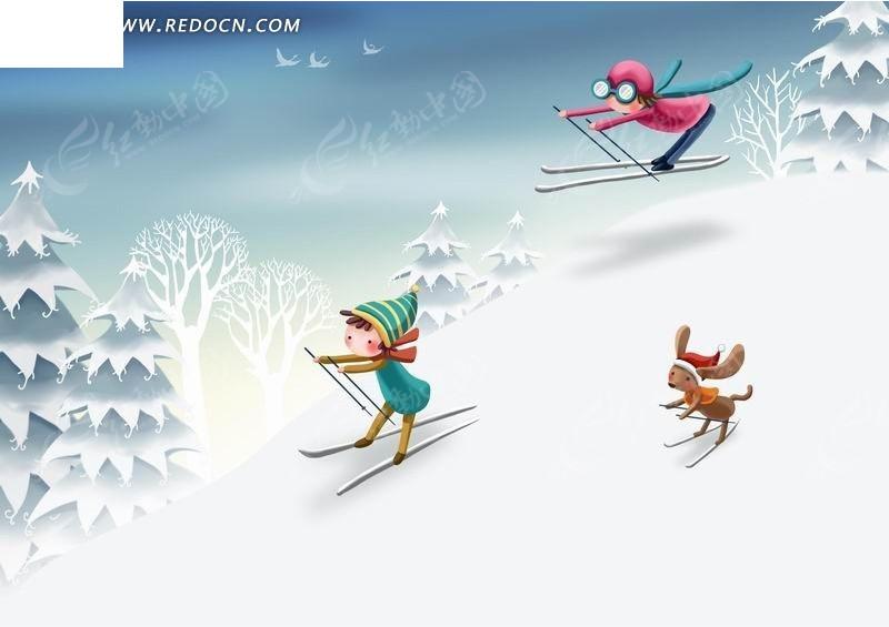 滑雪的小孩卡通人物插画