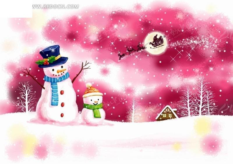 粉色背景下两个雪人卡通风景插画