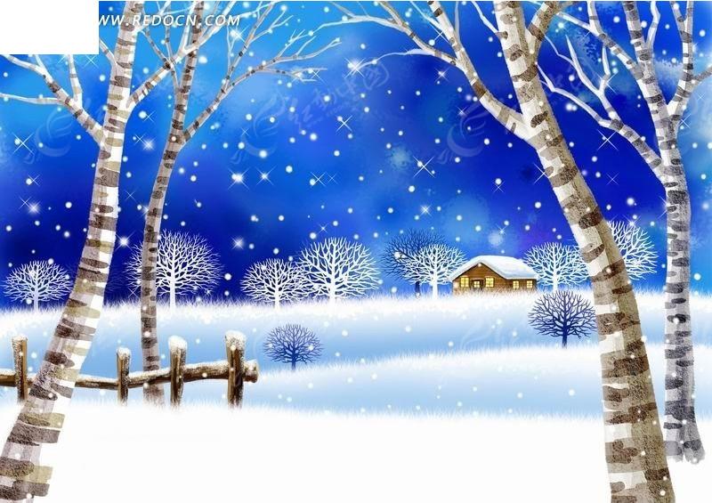 树林中的栅栏和房子卡通风景插画图片