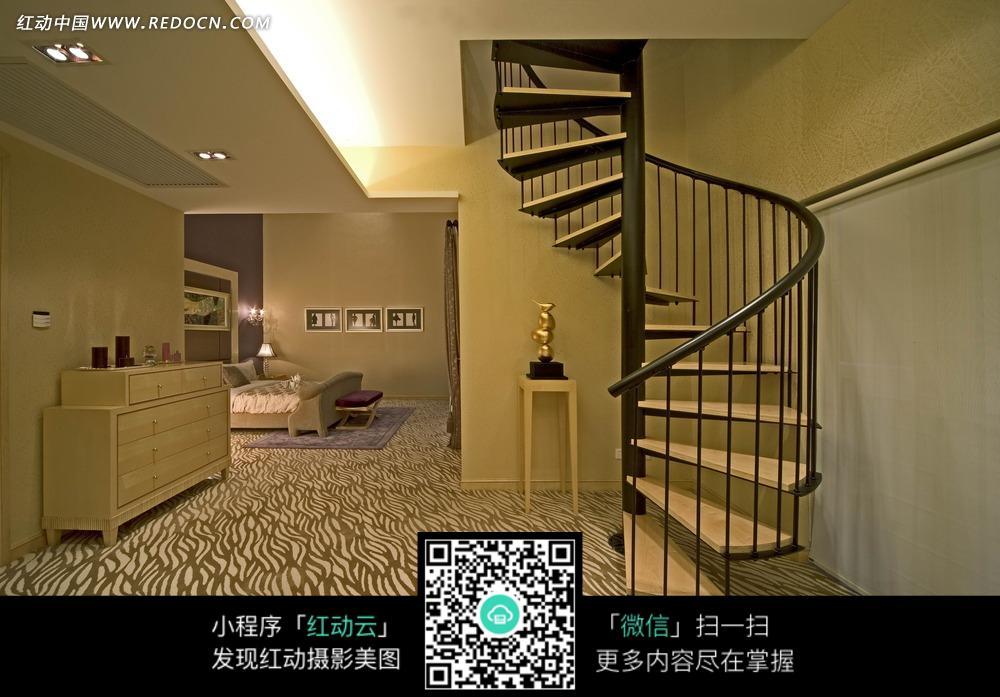 旋转楼梯 大厅 白色柜子 家具 室内装饰 室内设计 装饰设计 装饰效果