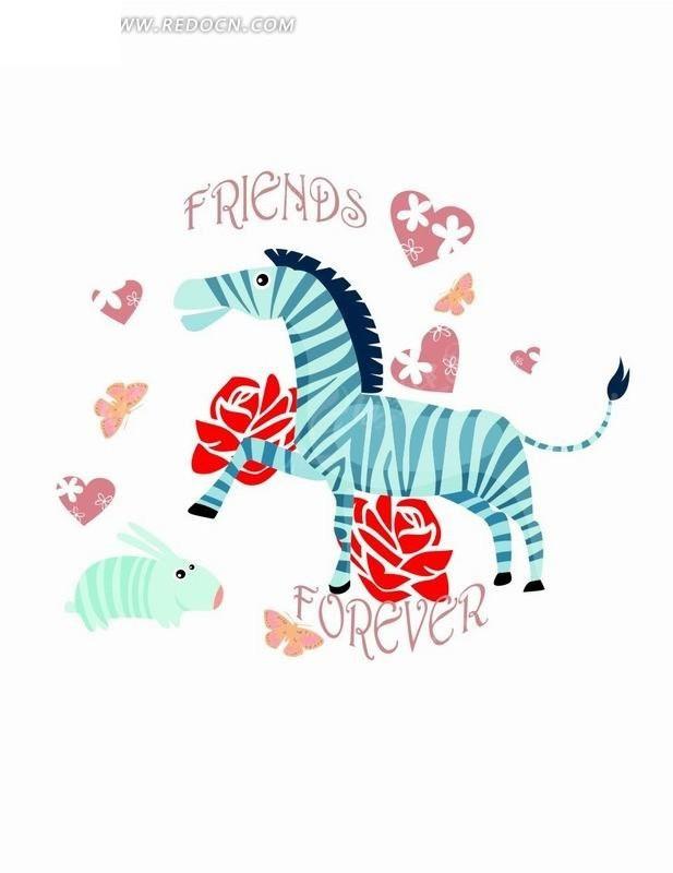 卡通动物插画-斑马和爱心玫瑰花图片