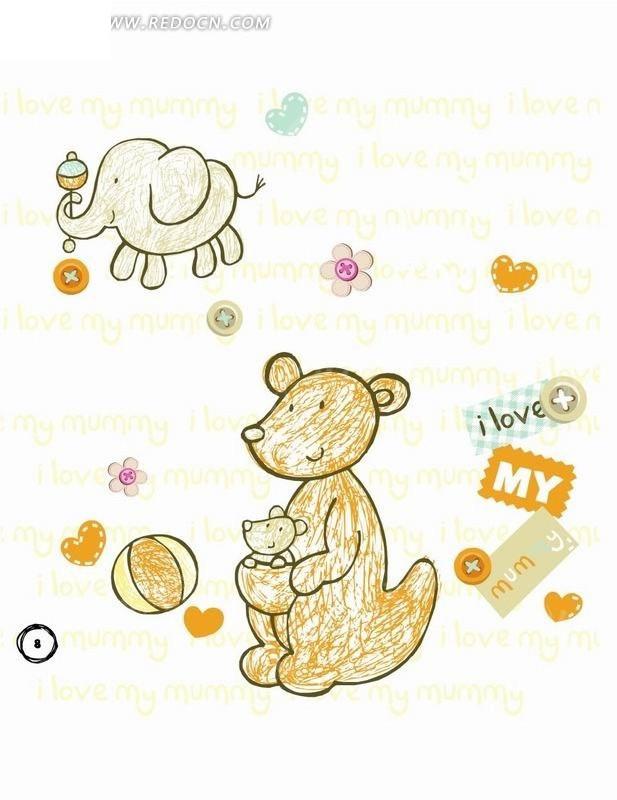 卡通动物插画-抱着小熊的狗熊和大象